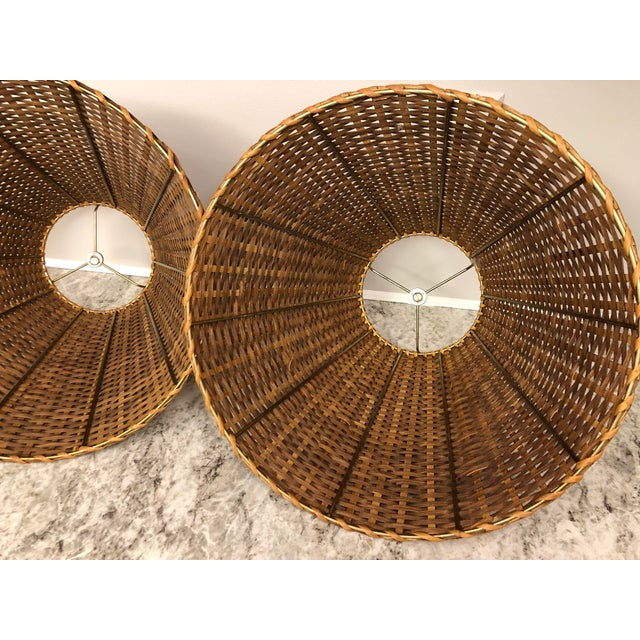 Brass Vintage Rattan Lamp Shades - a Pair For Sale - Image 7 of 12