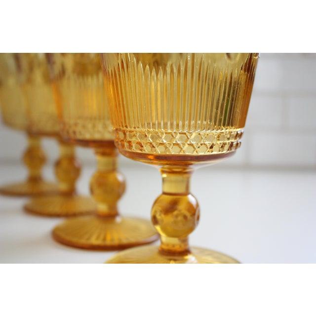 Vintage Amber Glass Goblets - Set of 4 - Image 5 of 7