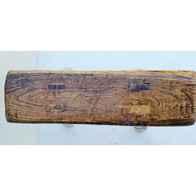 Asian Vintage Chinese Elm Stool Milking Bench For Sale - Image 3 of 5