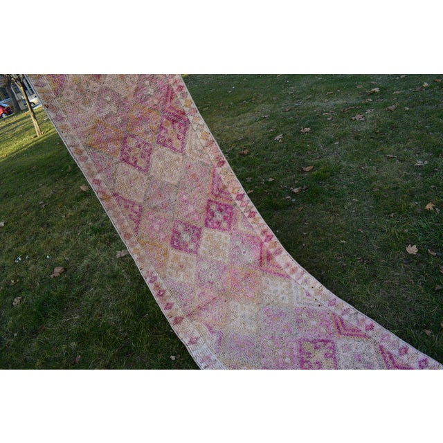Distressed Turkish Oushak Runner Rug 2.6 X 13.5 Ft For Sale - Image 9 of 13