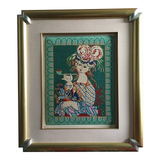 Framed Lady in Plumed Hat & Pipe Needlepoint Petit Point Textile Art For Sale