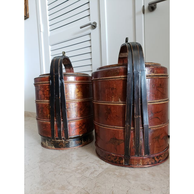 Mid 19th Century 19th Century Asian Antique Wedding Baskets/Side Tables - a Pair For Sale - Image 5 of 7