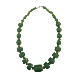 Jade Green Dyed Bone Tribal Necklace For Sale