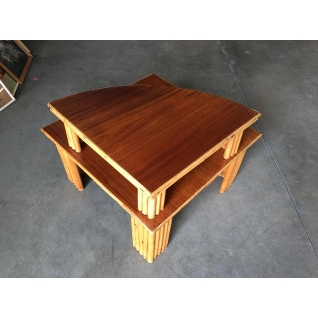 1950s Restored Rattan Corner Side Table With Removable Mahogany Second Tier For Sale - Image 5 of 7