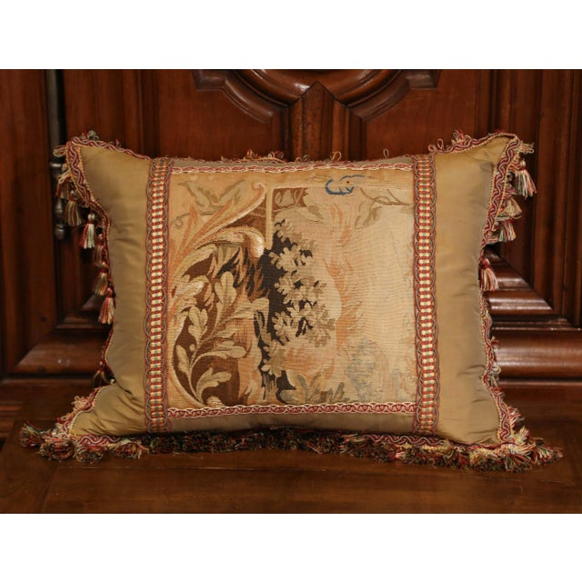 Mid 19th Century Handmade French Pillow With 19th Century Aubusson Verdure Tapestry Fragment For Sale - Image 5 of 10
