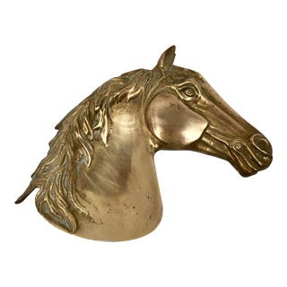Antique French Cast Brass Horse Head For Sale