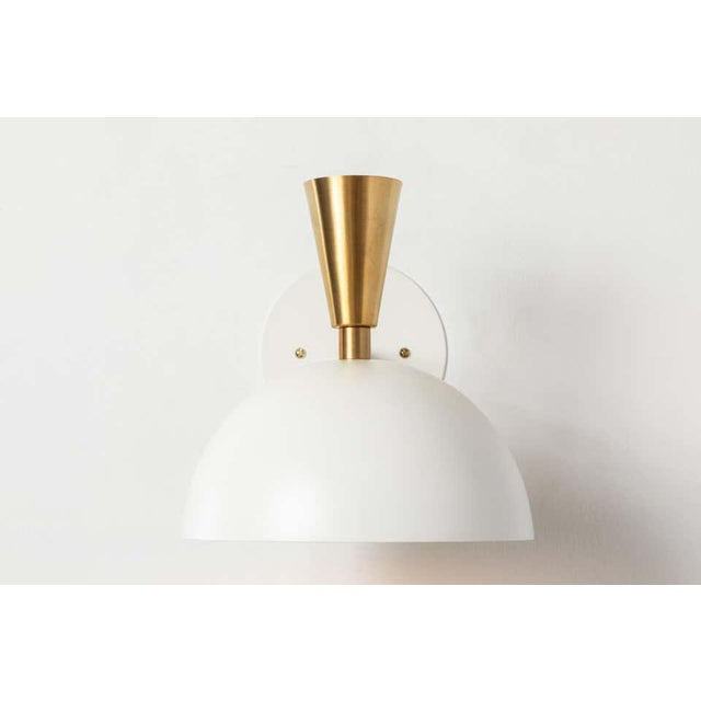 Mid-Century Modern 'Lola Ii' Sconces in White Metal and Brass - a Pair For Sale - Image 3 of 13