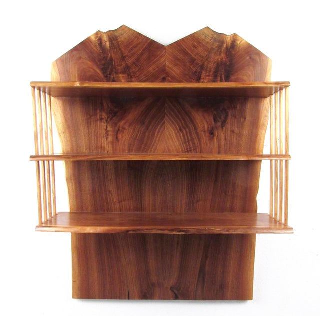 Americana Modern Live Edge Wall Shelf After George Nakashima For Sale - Image 3 of 13
