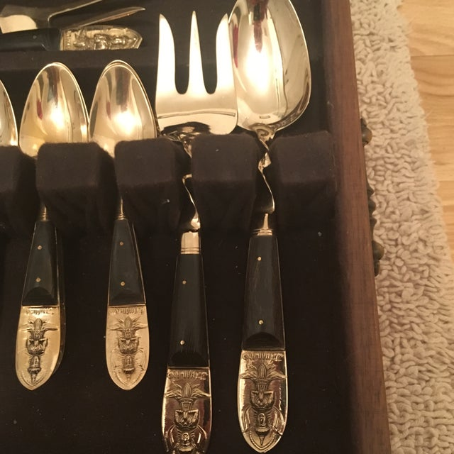 1960s Mid Century Brass and Rosewood J. Thailand Flatware Set 28 Pieces For Sale - Image 5 of 12