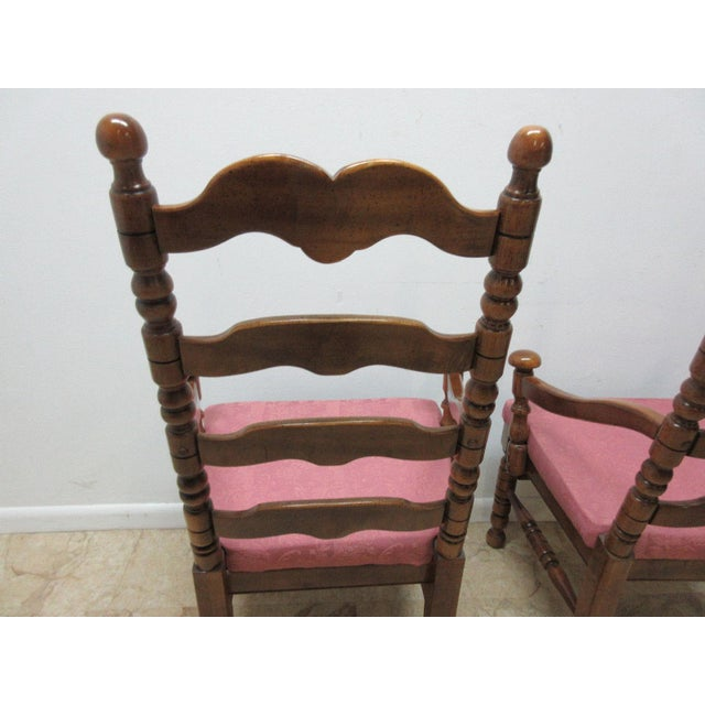Red Link Taylor Country Pine Ladder Back Dining Chairs - A Pair For Sale - Image 8 of 10