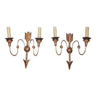 19th Century Directoire Style Gilt Wood Sconces - Pair For Sale