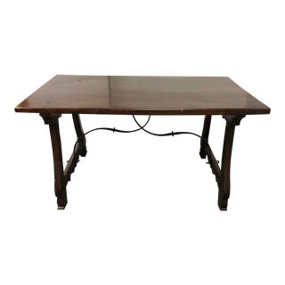 Baroque Spanish Style Wood + Metal Trestle Table For Sale