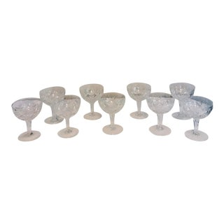 1950s Vintage Crystal Champagne Coup Glasses - Set of 9 For Sale