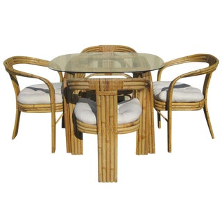 Paul Frankl Style Bamboo & Rattan Dining Set