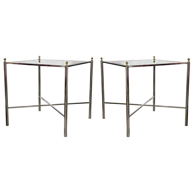 Jansen Mid-Century Style Chrome Side Tables - Pair - Image 1 of 7