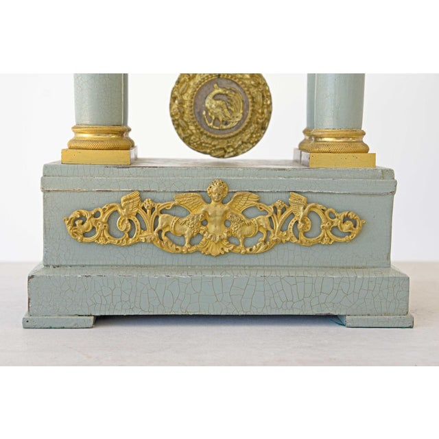 Bronze Mid 19th Century French Empire Portico Gridiron Mantle Clock For Sale - Image 7 of 8