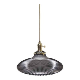 Saucer Holophane Pendant Light For Sale