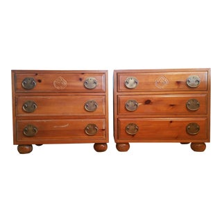 Late 20th Century Henredon Asian Solid Pine Chests - a Pair For Sale