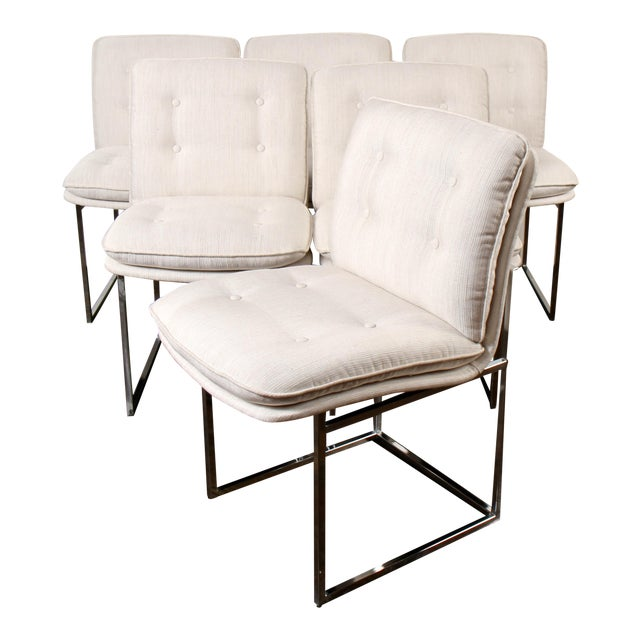 Milo Baughman for Thayer Coggin Chrome Dining Chairs For Sale