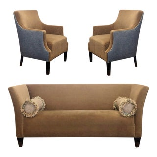 Contemporary Mohair Living Room Set Sofa and Chairs – Set of 3 For Sale