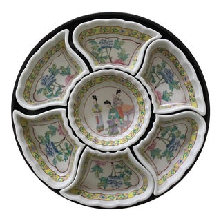 Vintage Mid-Century Chinese Famille Rose Porcelain Sweetmeat Set on Lazy Susan - 7 Pieces For Sale