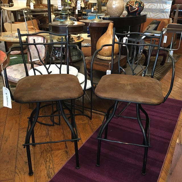 Artisan Home Swivel Barstools - Pair - Image 2 of 7