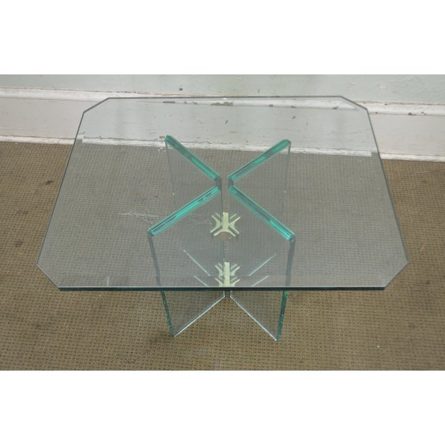 Leon Rosen for Pace Modern Glass Brass Side Table For Sale - Image 12 of 13