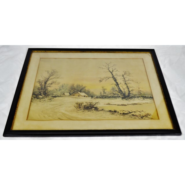 Antique Framed Mixed Media Country Landscape Scene Condition consistent with age and history. Some foxing to art and...