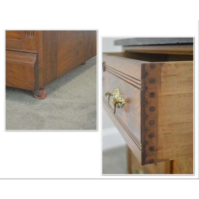 Victorian Eastlake Antique Walnut Marble Top 3 Piece Full Size Bedroom Set