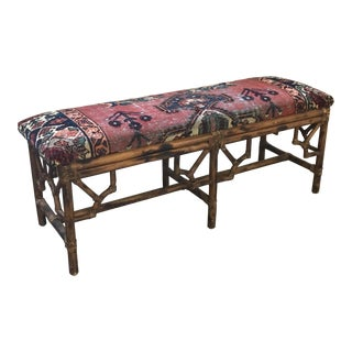Hollywood Regency Upholstered Persian Rug Bench