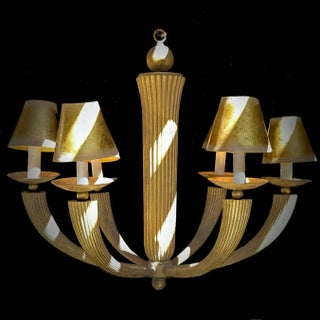 Donghia Faux Pencil Rattan Metal 6 Arm Cone Shaded Chandelier With Gold Dust Finishing Preview