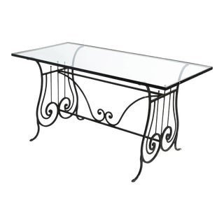 1940s Vintage Iron Lyre Garden Table For Sale