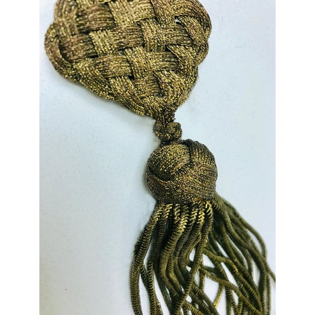 Late 1800s Antique French Gold Metallic Bullion Tassel For Sale In Los Angeles - Image 6 of 8