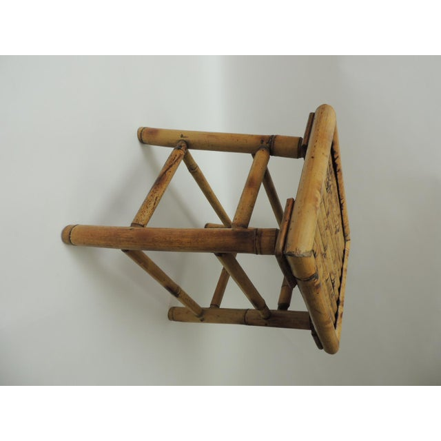 Vintage Bamboo Faux Tortoise Artisanal Small Telephone Table For Sale In Miami - Image 6 of 7