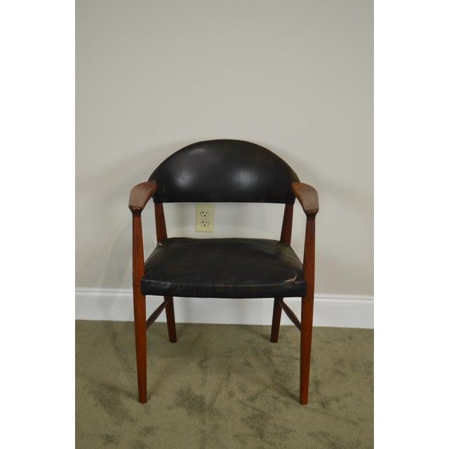 Black Danish Modern Teak & Black Leather Vintage Arm Chair For Sale - Image 8 of 13