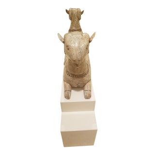 1980s Vintage YingYang Goat & Pedestal For Sale