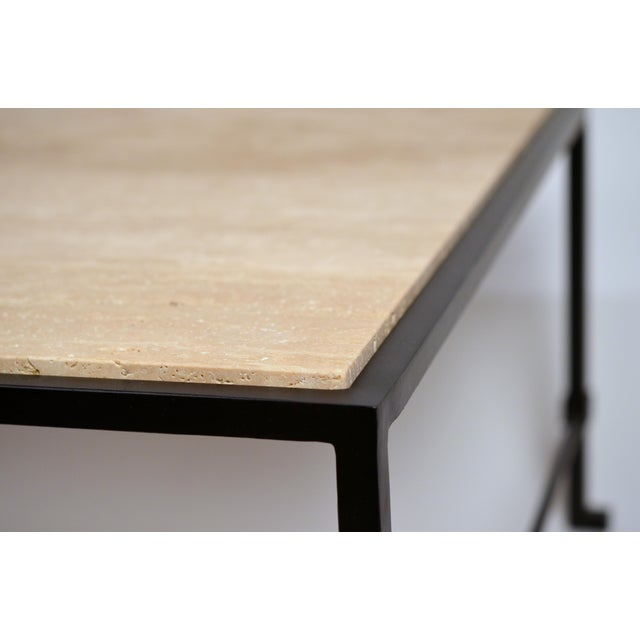 2010s Long 'Diagramme' Wrought Iron and Travertine Coffee Table by Design Frères For Sale - Image 5 of 7