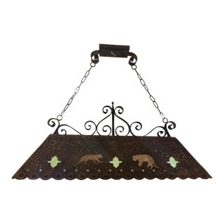 1980s Rustic Hammered Canopy Light For Sale