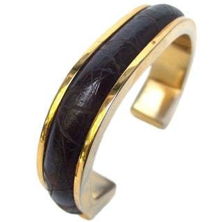 Loewe Sleek Alligator Gilt Metal Cuff Bracelet Ca 1970 For Sale