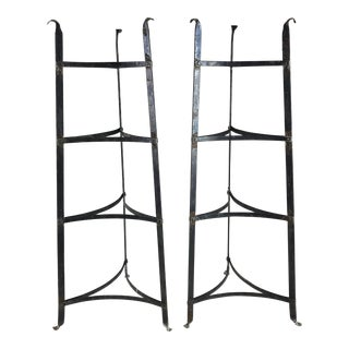 Antique Black Iron Pot Rack Shelving - a Pair For Sale