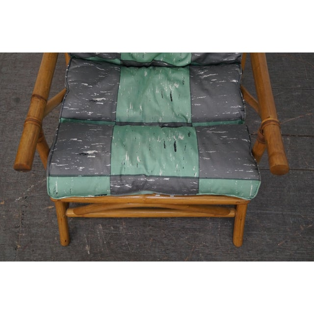 Mid-Century Rattan Frame High Back Lounge Chair - Image 5 of 10
