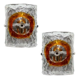 Pair of Two Mazzega Italian Glass Sconces For Sale
