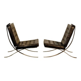 1970s Vintage Barcelona Style Chrome and Leather Chairs- A Pair For Sale