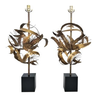 Brass Lamp Pair Designed by Bijan for Laurel Lamp Company - Both Labeled - Brutalist Mid Century modernModernist Palm Beach Boho Chic For Sale