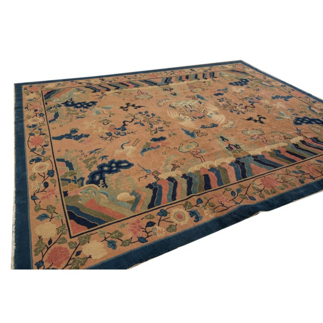 Antique Peach Peking Chinese Room Size Wool Rug 9 Ft X 11 Ft 9 In. For Sale - Image 4 of 11