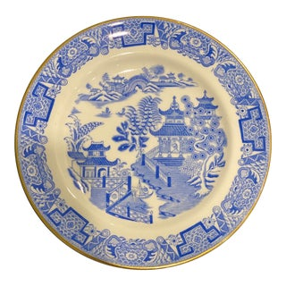 Mid 20th Century Gold Rimmed Blue & White Chinoiserie Plate For Sale