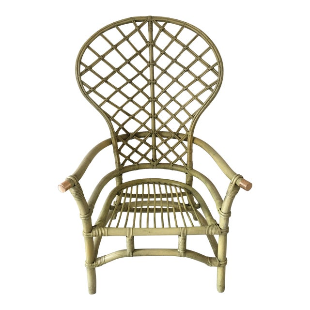Vintage Green Rattan Fan Back Chair - Image 1 of 11