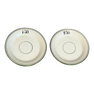 French Franc Bistro Bar Tab Plates, Pair For Sale