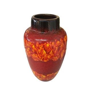 Scheurich West German Pottery 549 Red-Orange Drip Lava Vase