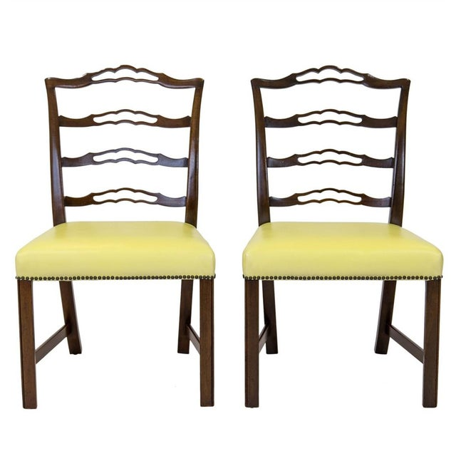 Gold Mahogany Ladder Back Side Chairs, a Pair For Sale - Image 8 of 8